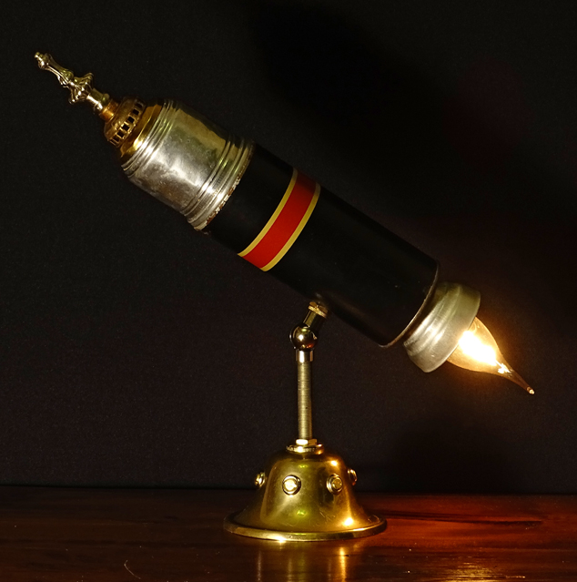 Vintage Thermos Rocket Ship Lamp Rekindled Lighting